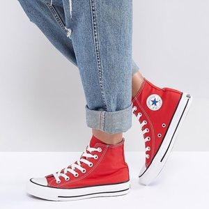 Converse Red Chuck Taylor Canvas High Top Sneakers